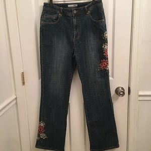 Chicos Platinum Marquis Bootcut Jeans  Embellished